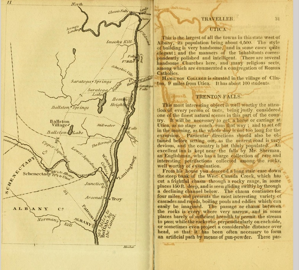 [Map of route from Albany to Saratoga Springs]