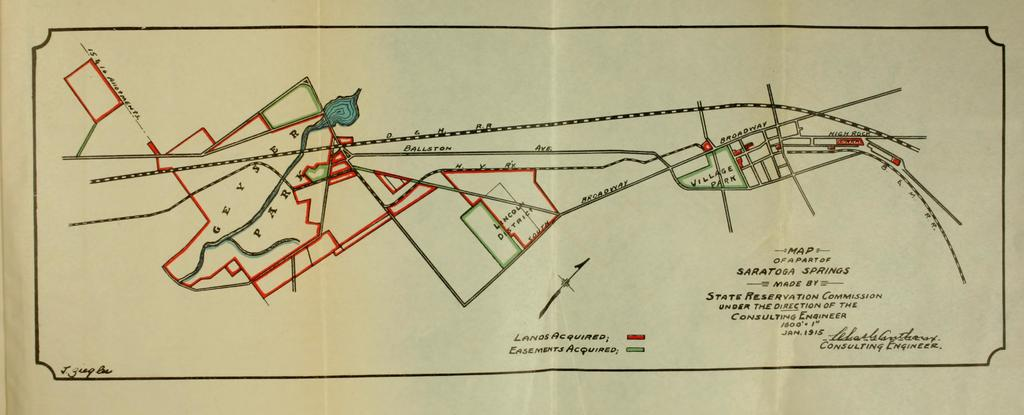 Map of a Part of Saratoga Springs Made by State Reservation Commission