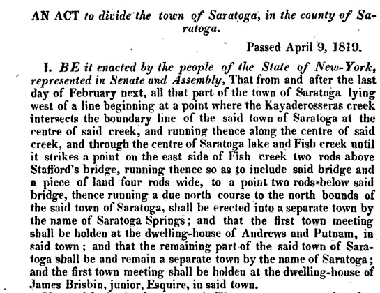 An Act to Divide the Town of Saratoga, in the County of Saratoga