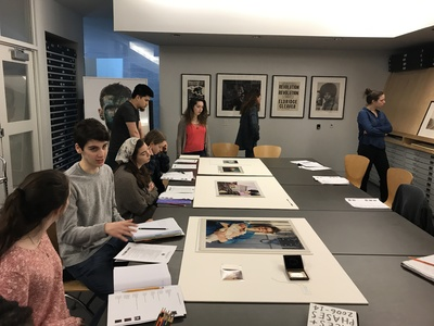 Principles of Documentary class visits the Print Room at the Tang Museum