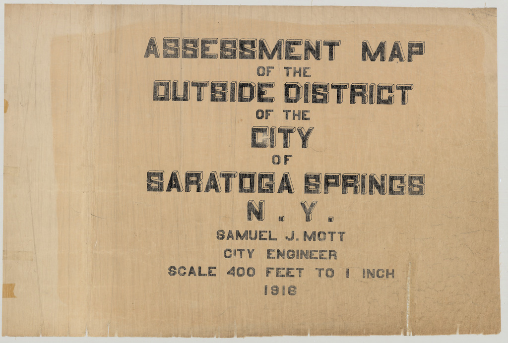 Title Page, Assessment Map of the Outside District of the City of Saratoga Springs, N.Y.