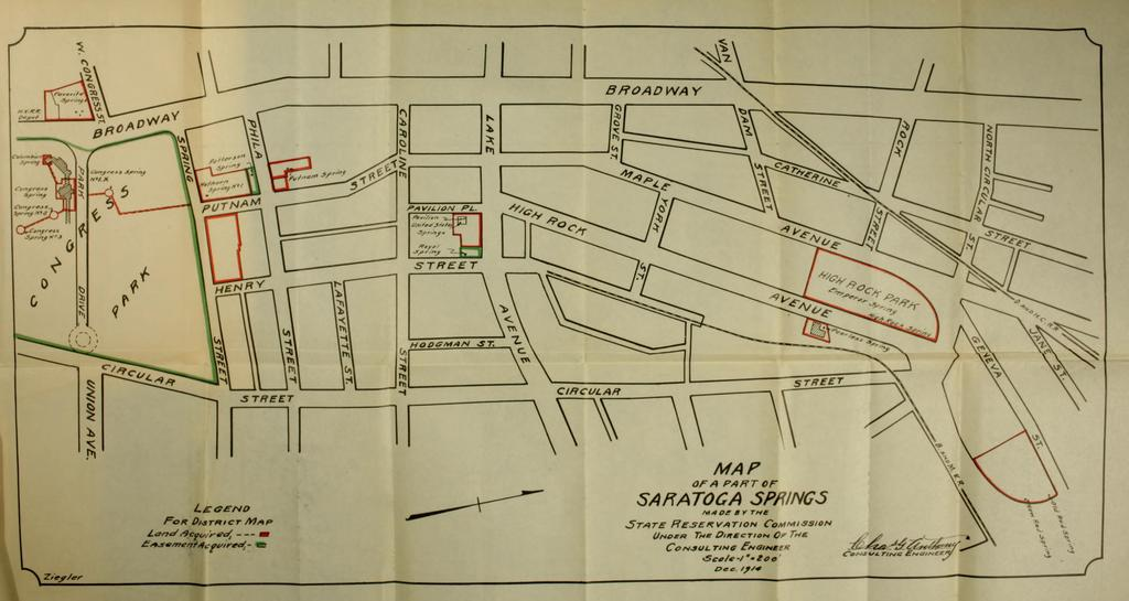Map of Part of Saratoga Springs Made by the State Reservation Commission