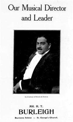 Burleigh as musical director of St. George's Minstrel Show, 1906<br />