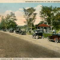 Automobiles waiting in Line at Hathorn No. 3 Springs. New York State Reservation, Saratoga Springs, N.Y.