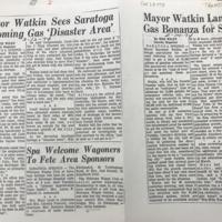Mayor Watkin Sees Saratoga Becoming Gas 'Disaster Area' and Mayor Watkin Lands Gas Bonanza for Spa